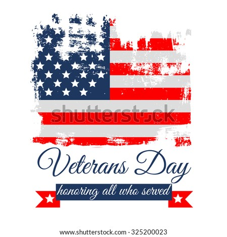 veterans day flag vector illustration design over a white background, postcard, greating card, t-shirt
