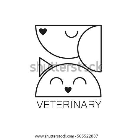 VETERINARY. Logo design template for veterinary clinic. Home pets logotype. Dog and cat concept for design of veterinary, pet shop, vetclinic, animal care, or other pet help and etc. Vector design.