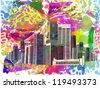 vibrant city. vector - stock photo