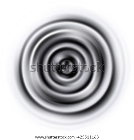Vibrations. Circles. Blurred circles. Membrane. Back-and-white circles. Deep sound. Vector graphic pattern with rippled membrane on white background