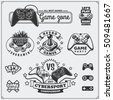 Video game club emblems, labels, icons, badges and design elements.