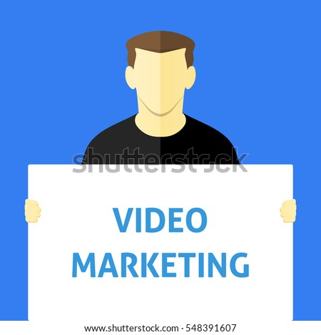 Video Marketing - Man showing sign. Business person holding a white piece of cardboard