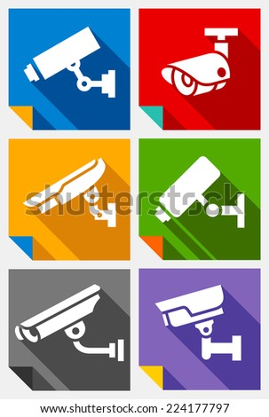 Video surveillance, colored stickers set, vector illustration