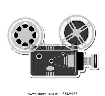 videocamera cinema movie film entertainment icon. Flat and isolated design. Vector illustration