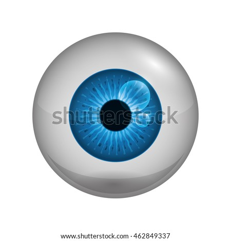 View and look concept represented by blue eye icon. Isolated and flat illustration