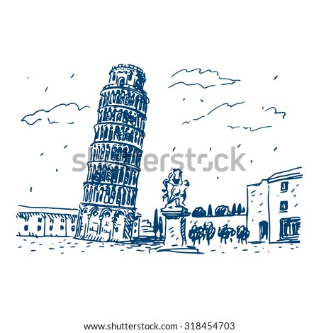 View of the Leaning Tower of Pisa, Italy. Vector hand drawn sketch.