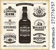 Vintage alcohol labels collection. Editable EPS10 vector illustration with transparency. - stock vector