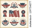 Vintage American labels set. Fully editable EPS10 vector. - stock photo