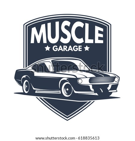 Abstract Vector Muscle Car Label Logo Stock Vector