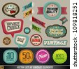 Vintage And Retro Design Elements. Labels in retro and vintage style. Vector Illustration. - stock vector