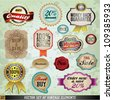 Vintage And Retro Vector Design Elements. Old papers, labels in retro and vintage style. Graphic Design Editable For Your Design. - stock vector