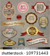 Vintage And Retro Vector Design Elements. Old papers, labels in retro and vintage style. Vector Illustration. Graphic Design Editable For Your Design. - stock vector