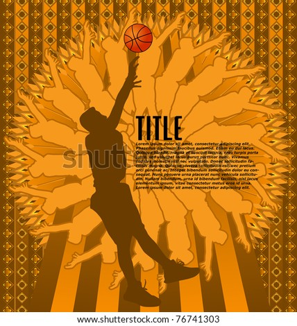 Vintage background design with basketball player silhouette. Vector illustration.