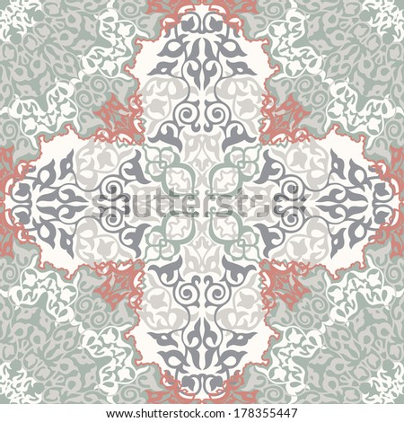 Vintage Background Traditional Ottoman motifs.Decorative seamless pattern in mosaic ethnic style.Vector illustration