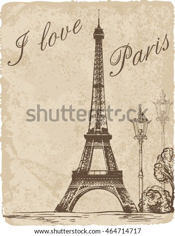 Vintage background with Eiffel Tower. Vector illustration.