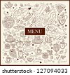 Vintage background with hand drawn elements for design menu - stock vector