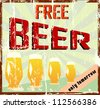 "Vintage bar sign, grungy, ""free beer"" - stock vector"