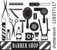 Vintage barber and hairdresser related silhouette set - stock vector