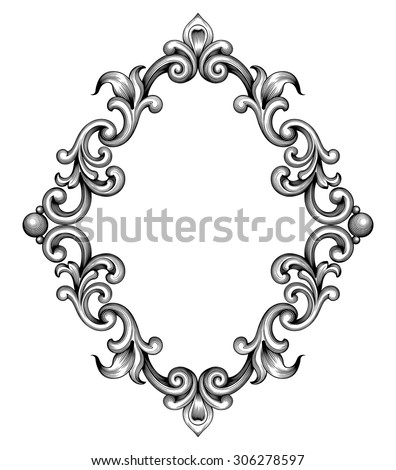vintage baroque frame leaf scroll floral ornament engraving border retro pattern antique style swirl decorative design