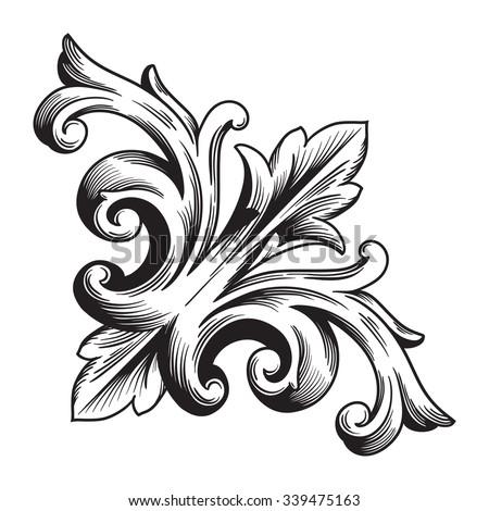 Vector Vintage Baroque Scroll Design Frame Stock Vector ...