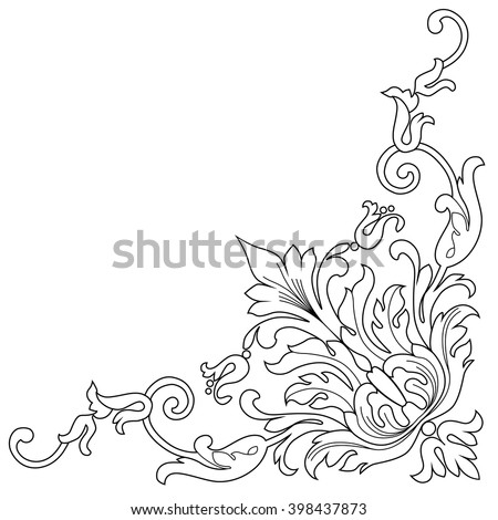 Vintage baroque frame scroll ornament engraving border floral retro pattern antique style acanthus foliage swirl decorative design element filigree calligraphy wedding - vector