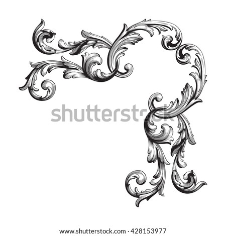 Illustration Set Vintage Design Elements Baroque Stock