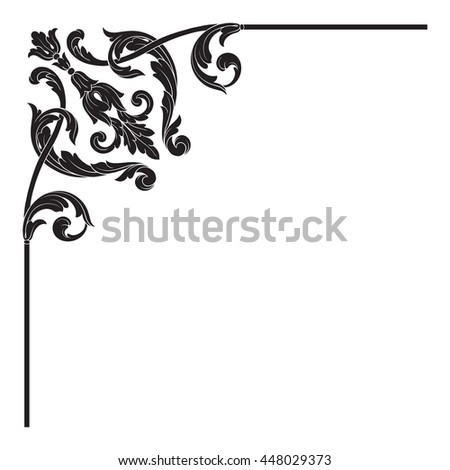Vintage baroque ornament. Retro pattern antique style acanthus. Decorative design element filigree calligraphy