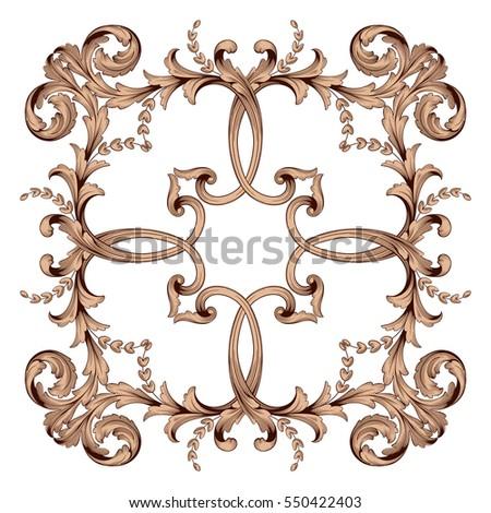Vintage baroque element ornament retro pattern stock for Acanthus decoration