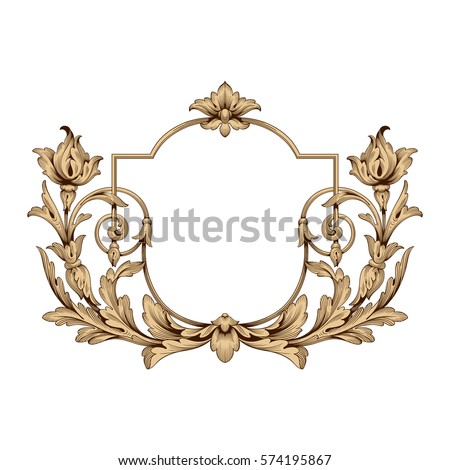 Vintage baroque frame scroll ornament engraving stock for Baroque design elements