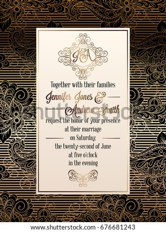 Vintage baroque style wedding invitation card stock photo photo vintage baroque style wedding invitation card template elegant formal design with damask background stopboris Image collections
