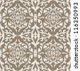 Vintage beautiful background with rich, old style ornamentation, fashioned seamless pattern, beige, chocolate, cream color vector wallpaper, floral, retro swatch fabric for decoration and design - stock vector