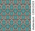 vintage beige and turquoise floral seamless pattern on brown background. vector illustration  - stock vector
