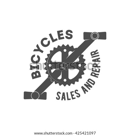 Vintage bicycle shop logo badge and label.