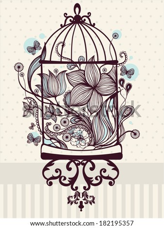 Antique bird cage drawing - photo#15