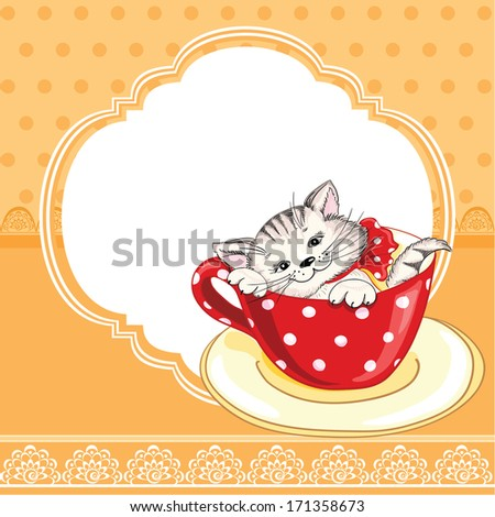 Vintage birthday card with funny cat on a lace background and copy space for you text