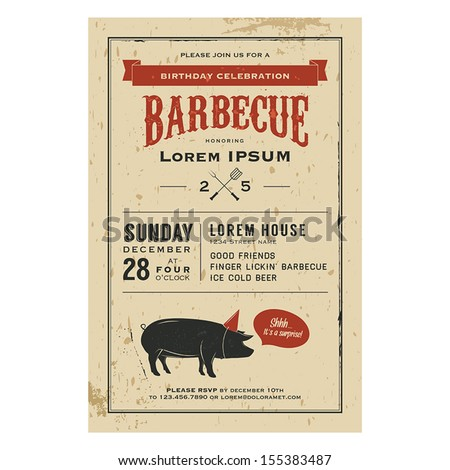 Vintage birthday party barbecue invitation stock vector for Bbq sauce label template