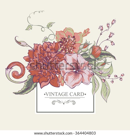 Vintage botanical greeting card with blooming peony, hibiscus, swirls and roses buds, hand drawn vector illustration
