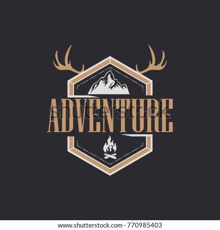 Set Vintage Camping Outdoor Adventure Emblems Stock Vector 771286405 ...