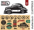 Vintage car garage labels and badges collection. Car service icons set. - stock photo