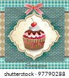 Vintage card with cupcake 09 - stock vector