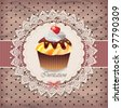 Vintage card with cupcake 08 - stock vector