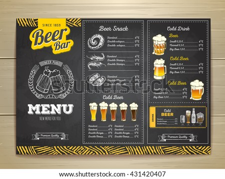 Vintage chalk drawing beer menu design.