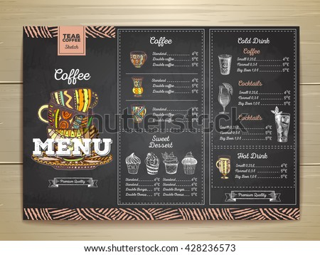Vintage chalk drawing coffee menu design.