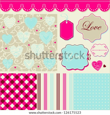 Vintage cheerful pattern, frames and cute romantic backgrounds