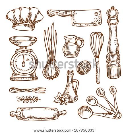 Vintage Kitchen Utensils Illustration vintage kitchen elements stock vector 137741558 - shutterstock