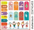 Vintage Christmas and New Year greeting stickers, labels, tags and ribbons with cute winter elements, icons, typography, greeting and wishes. Good for design cards or posters. Happy kids jumping - stock vector