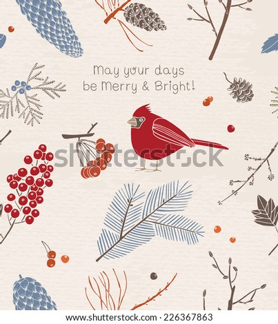 Vintage Christmas card. Christmas decoration with bird and berries.