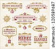 Vintage Christmas Labels. Editable vector illustration. - stock vector
