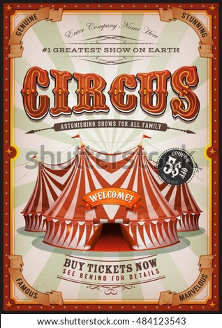 Vintage Circus Poster Big Top illustration Retro Stock ...