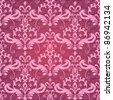 Vintage classic ornamental seamless wallpaper in red and pink - stock vector